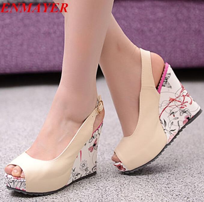 ENMAYER Negro Blanco Beige Albaricoque tamaño 34,43 zapatos de Las Sandalias Elegantes mujeres