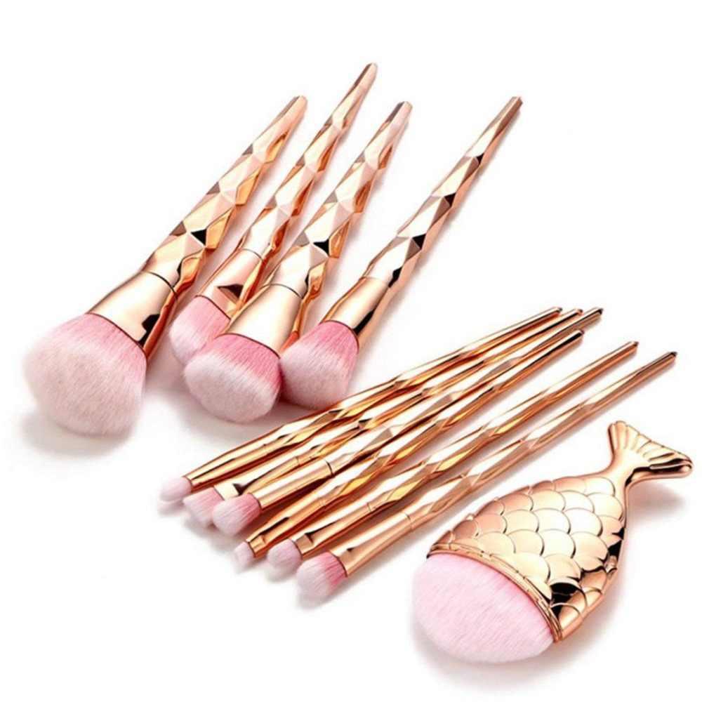 11 шт Diamond кисти для макияжа набор порошок основа тени для век Румяна смешивания Косметика Красота составляют наборы щеток