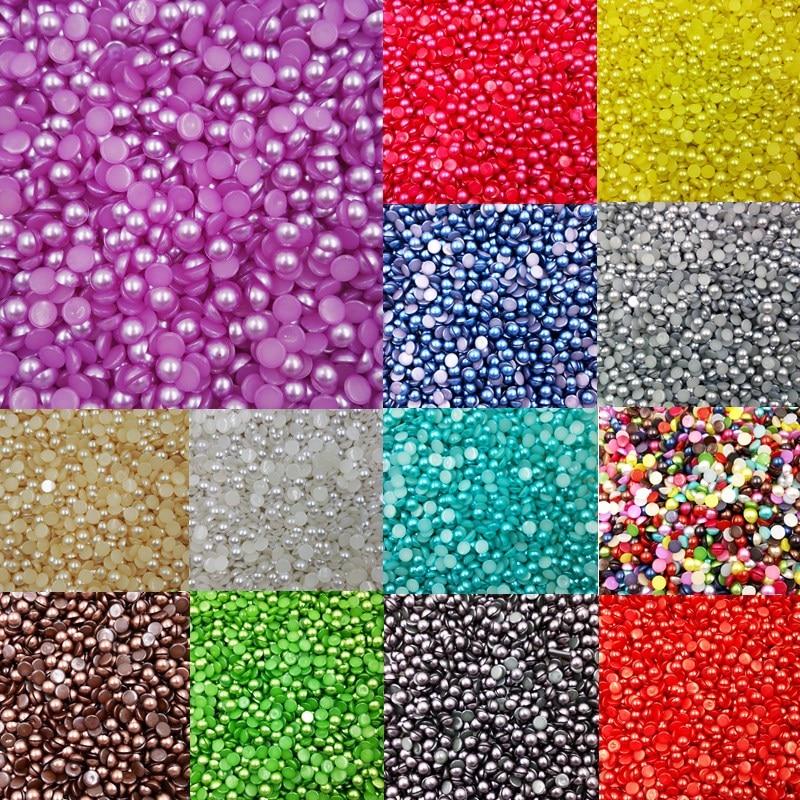 LNRRABC 300 piece lot 6MM Half Round Acrylic Imitation Pearl for Jewelry  Making Decoration Nail f9ac5d066a0b