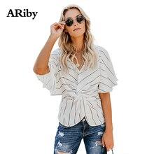 ARiby Blusas Mujer De Moda 2018 Summer New Striped Shirt Loose V-neck Short Batwing Sleeve Twist Knot Design Women Chiffon