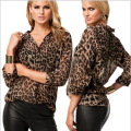 Plus Size S-4XL European Style  2016 New Spring Summer Female Fahion Leopard Chiffon Shirts Casual Women Shirt Blouses JY76