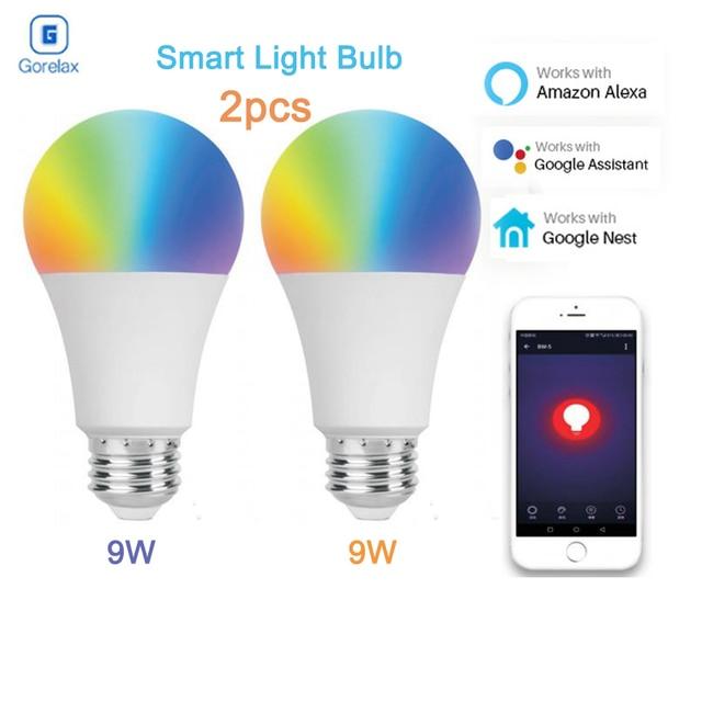 2pcs Smart Home Automation E27 9W Led Light Wifi Bulb, RGB WW Dimmable Remote Control LED Lamp Bulb Works with Alexa Google Home