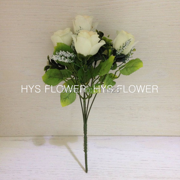 5 Head White Rose Bush Arrangement Artificial Flower For Home