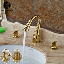 New Designer Bathroom Washing Basin Faucet Two Knobs Hot And Cold Mixer  Valve Deck Mounted Widespread