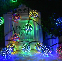 цена на 10/20 LED Moroccan Ball Solar String Nightlight RGB Blue Warm White White Waterproof Lantern Light Decorative Lighting For Home