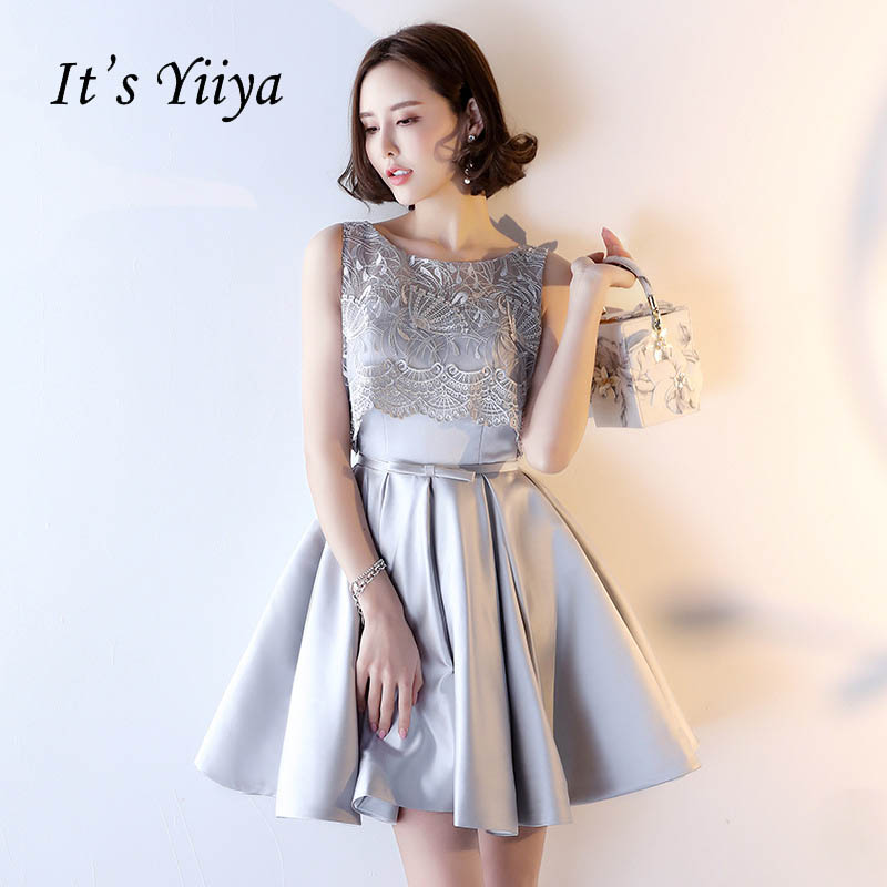 It's YiiYa Lace Up New Illusion Flower Bow Lace Draped Dinner   Dress     Cocktail     Dresses   Knee Length Formal   Dress   Party Gowns LX179