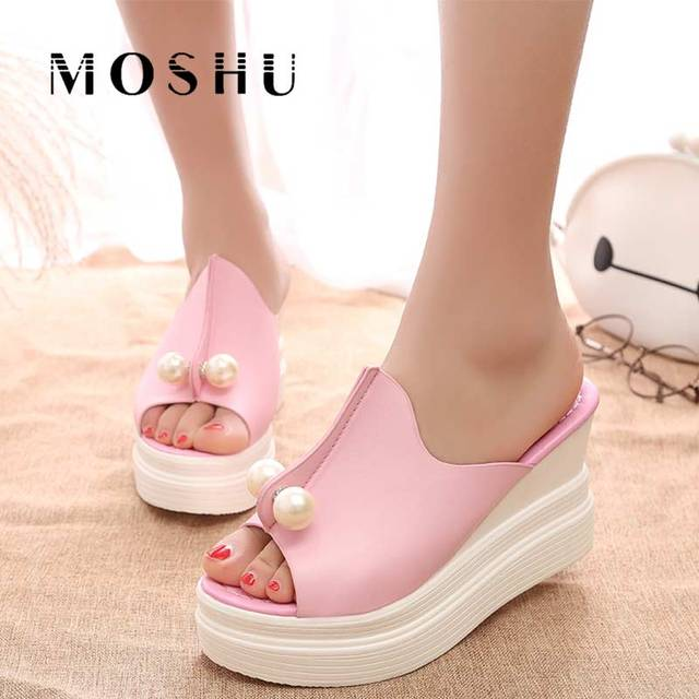 c117e1ea41ea Designer Women Summer Slippers High Platform Wedges 2019 Sexy Beading  Slides Thick Heel Open Toes Sandals white black pink