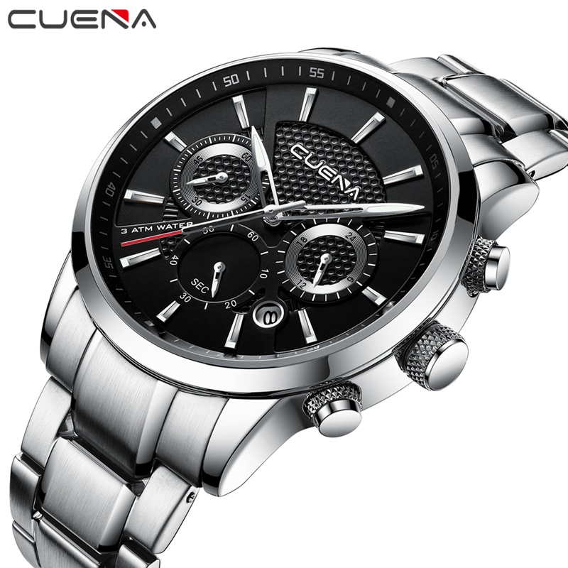 CUENA Quartz Watches Men Chronograph Luminous Hands Auto Date Stainless Steel 30m Waterproof Fashion Luxury Silver Male Watches