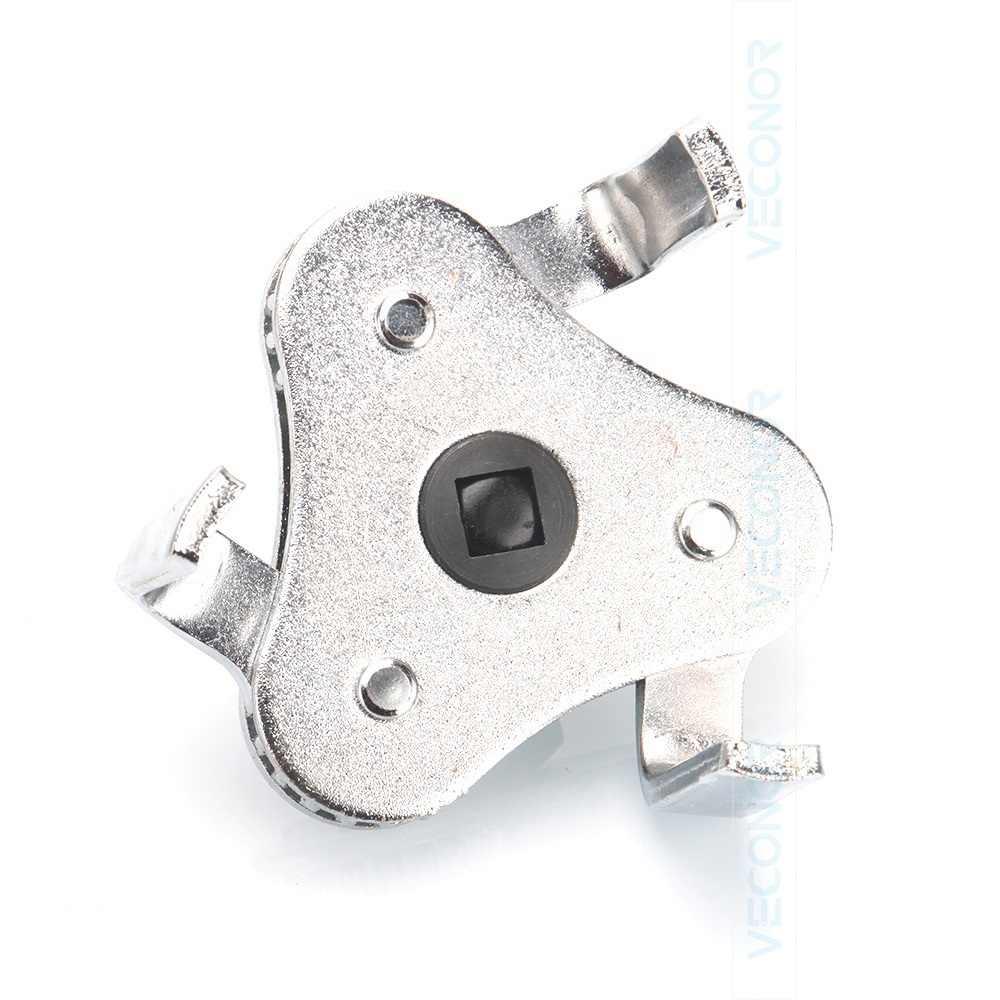 """Llave de filtro de aceite de 2 vías y 3 mandíbulas usada con un rango de herramientas de accionamiento cuadrado de 1/2 """"2-1/2""""-4 """"(63-102mm)"""