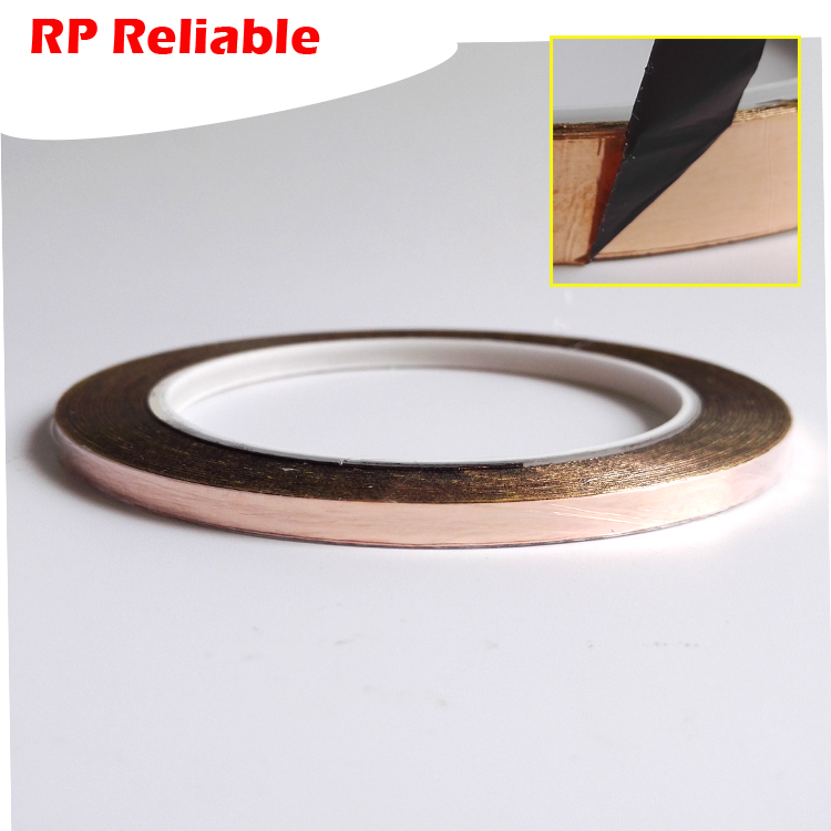 5 rolls 5mm wide Single Sided Black Adhesive Copper Foil Tape for EMI Shielding Stainless Glass