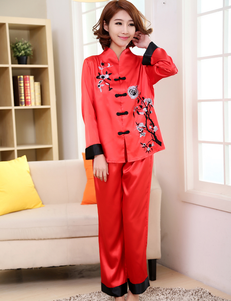 Aliexpress.com : Buy Hot Sale Red Chinese Style Women Silk Pajamas ...