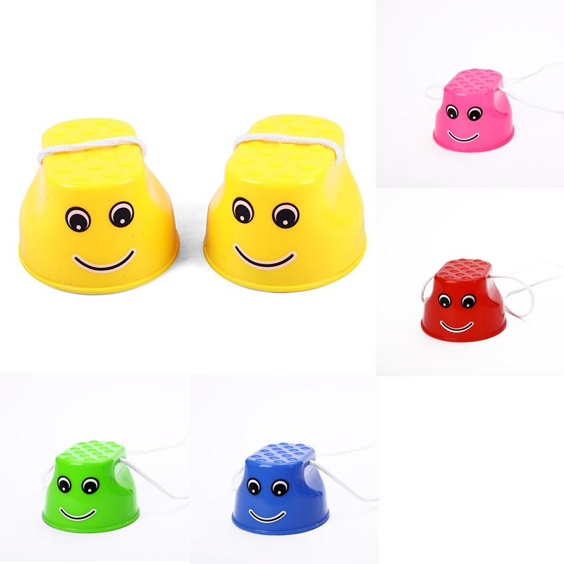 Outdoor Plastic Balance Training Smile Face Jumping Stilts Shoes for Children Walker Toy Monster Feet Fun & Sports