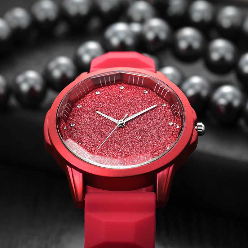 Odrodzenie Starry sky tonneau dial miękkie silikonowe zegarki damskie proste diamentowe eleganckie zegarki damskie marki czerwony zegarek kwarcowy