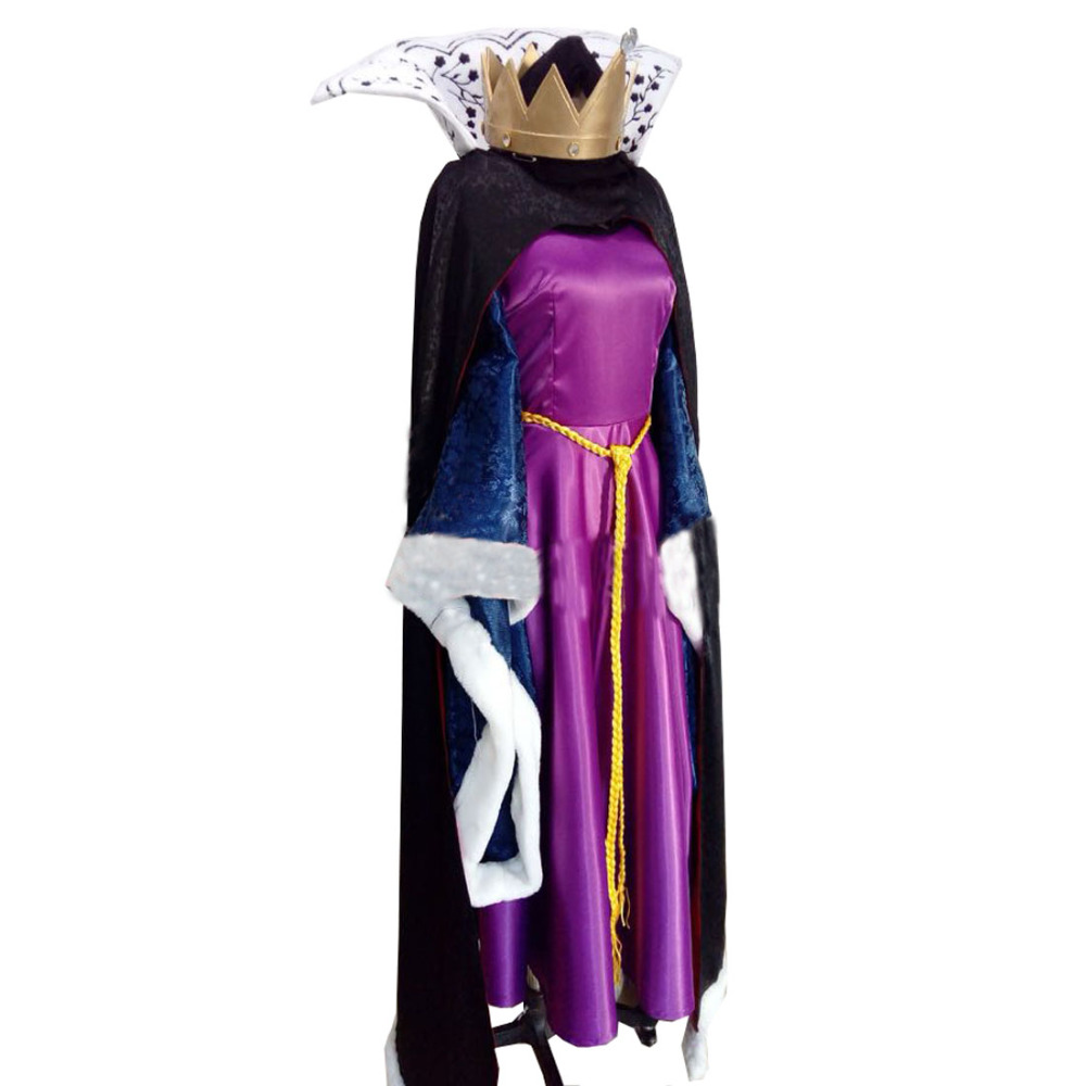 2018 Snow Whtie The Bad Queen Devil Queen Purple Dress Costume Cosplay for Halloween Carnival Party