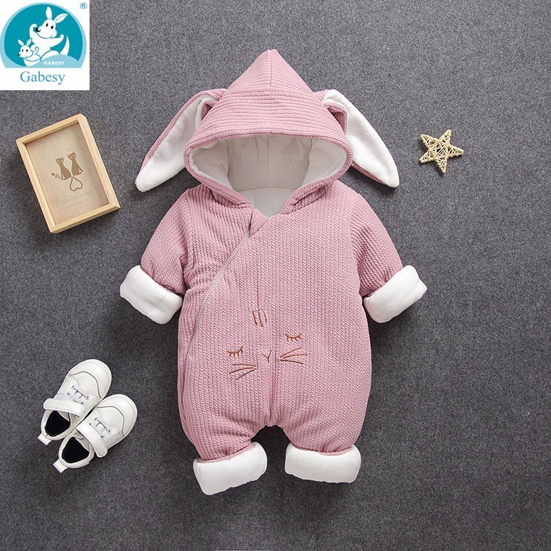 2019 Newborn Cotton Thick soft Hooded Baby girl Clothes Warm Autumn Winter   Romper   Animal toddler boys infant jumpsuits clothing