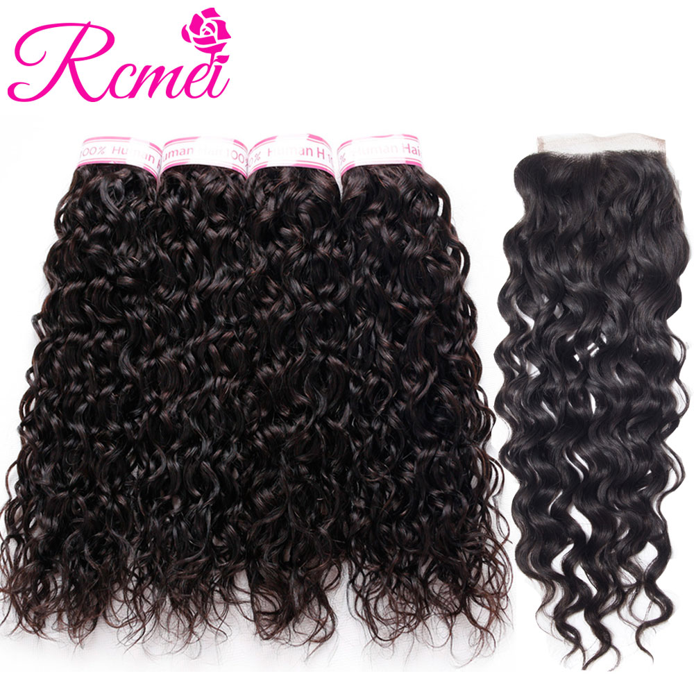 Rcmei New Brazilian Water Wave hair 4 Bundles With Lace Closure 4x4 Human Hair weave 5pcs/lot Non Remy Water Wave Hair extension