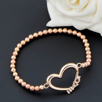 new design hot sale love bead bracelet gold color charm couple bracelet valentine's day gift Pulsera