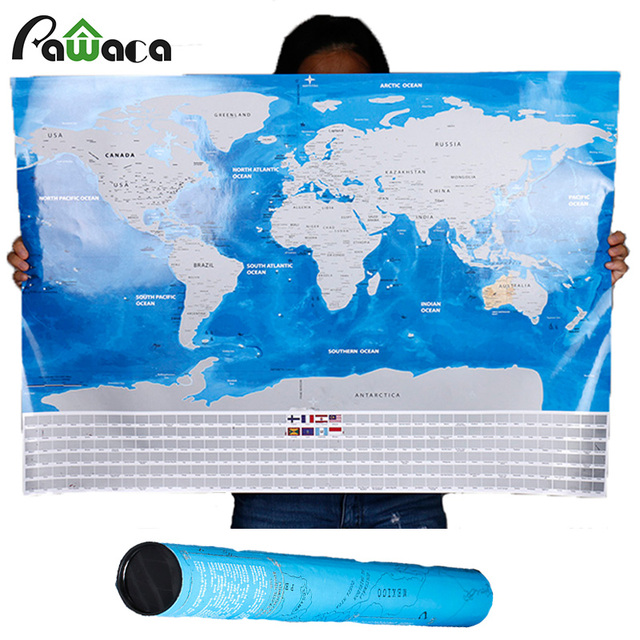 Deluxe travel scratch off world map blue ocean retro wall sticker deluxe travel scratch off world map blue ocean retro wall sticker diy poster map with flag gumiabroncs Choice Image