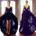 Nuevo A-Line de Tulle del V-cuello de Tres Cuartos Vestidos de Coctel Correa de Espagueti Appliques Cuentas de Encaje Formal Vestido de Fiesta Vestidos de Bola