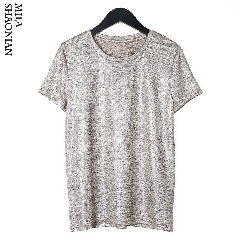 Camisetas Plata Cuello Mujer Estiramiento Primavera Elástico Corta Seda Manga Verano Harajuku Hilo Caliente Suave Tops jUzVpLGqMS