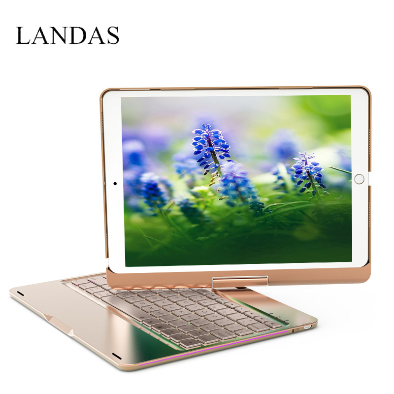 Landas For iPad 10.5 Keyboard Case Cover 360 Rotation Backlit Bluetooth Wireless Smart Keyboard For iPad Pro 10.5 Inch Tablet tablet keyboard for ipad 2018 case cover bluetooth wireless backlit keyboard for ipad 2017 smart cover stand 9 7 inch 2018 case