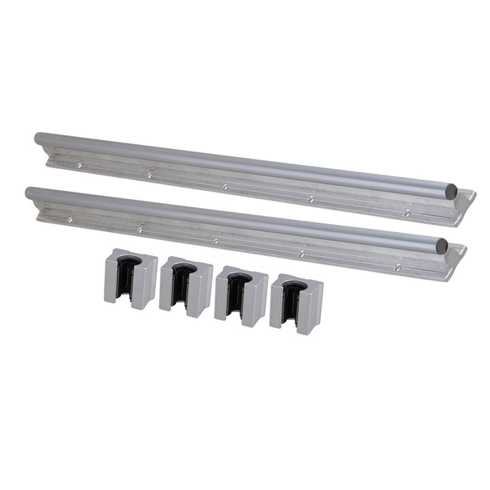 Silver Open Roller Bearing Slide Block & L500mm SBR12 Linear Bearing Rail Guide with 12mm Dia Shaft for CNC Machine Set of 6 silver open roller bearing slide block