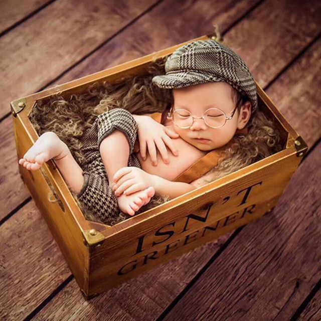Infant baby boy casquette cap little gentleman outfit newborn photography props newborn plaid costume baby photoshoot