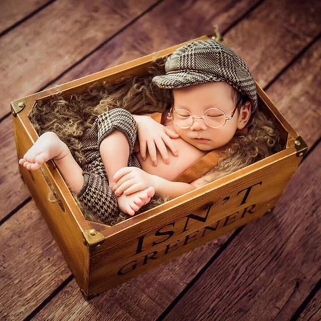 Infant Baby Boy Casquette Cap Little Gentleman Outfit Newborn Photography Props Newborn Plaid Costume Baby Photoshoot Accessorie