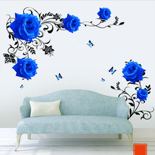 Large blue rose flowers Sofa/TV Background Wall Sticker Home Decoration DIY bedroom Living room Mural art Decals poster stickers