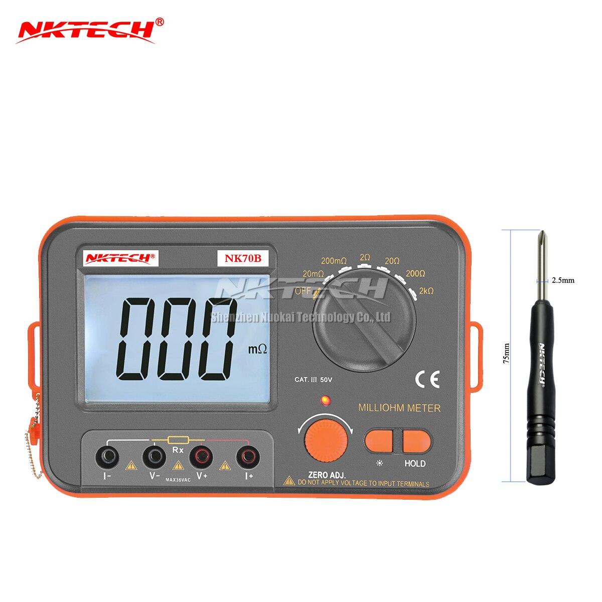 NKTECH Multímetro Digital Milli-ohm Multimetro Testador de Diagnóstico-ferramenta NK70B Retroiluminado Medidor Com 4 Fios Medidor de Teste de Atualização versão