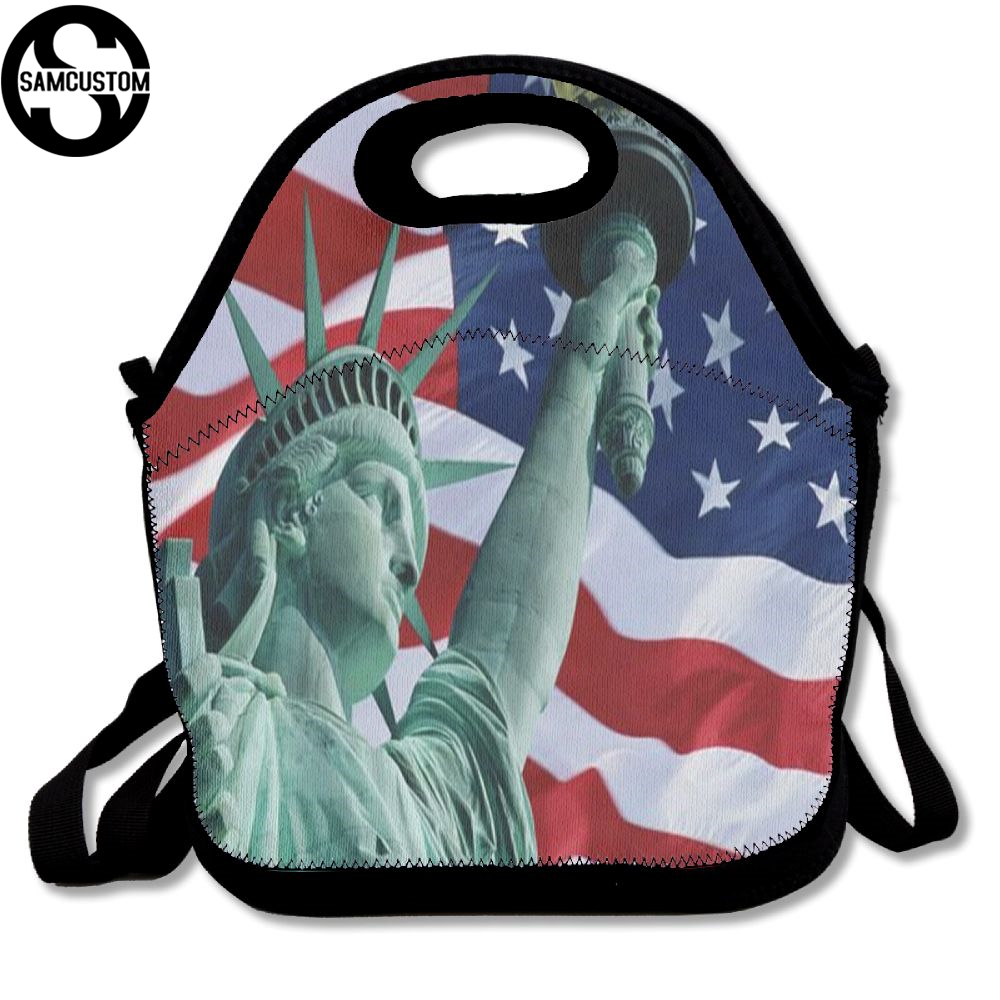 SAMCUSTOM Statue of Liberty United States Lunch Bags Insulated Waterproof Food Girl Packages men and women Kids Boys Handbags