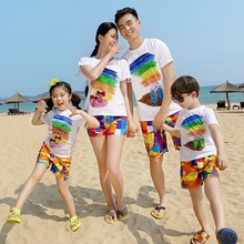 Beach Family Set Clothes Rainbow Cotton T-shirt+Quick Dry Shorts Clothing Sets Matching Outfit 3XL MH7