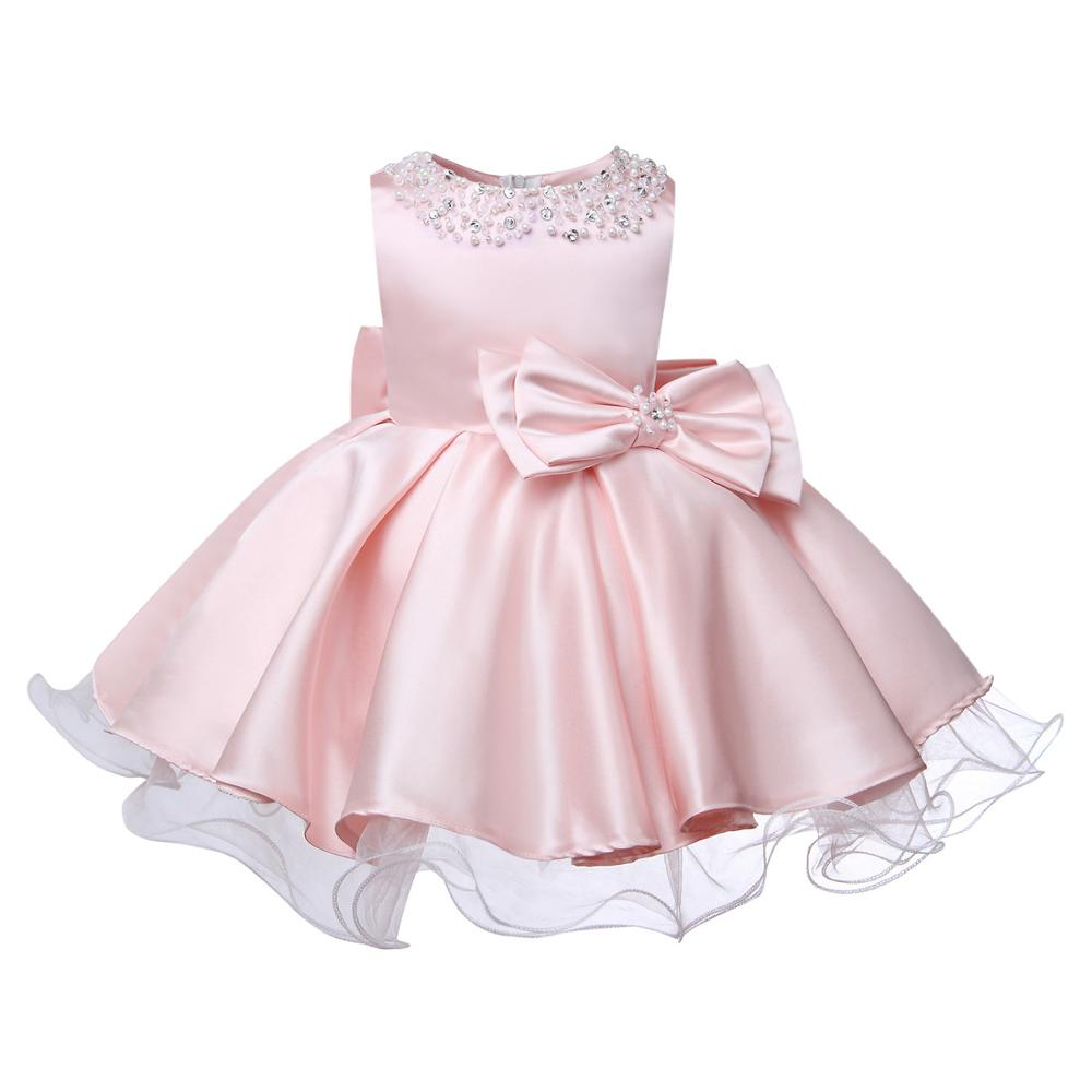 Pink Lace Beads Baby Flower Christening Gowns Baptism ...