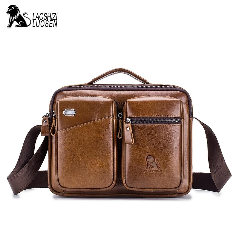 Vintage sac à bandoulière hommes en cuir véritable sac à bandoulière hommes Messenger sac véritable mallette en cuir marron noir affaires cuir de vache