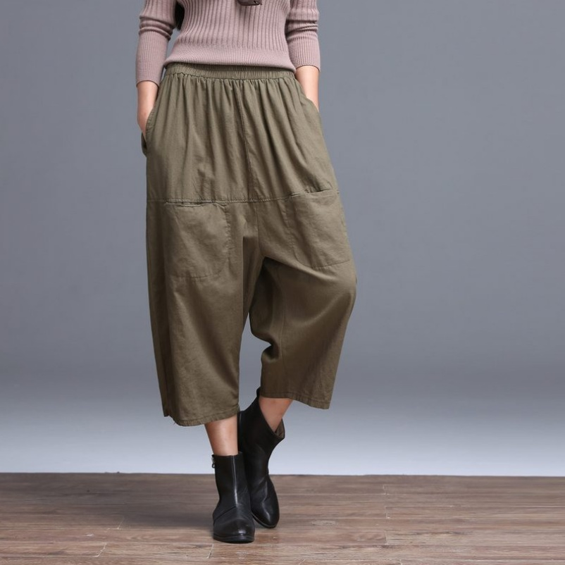 Casual Ninth   Pants   Women Cotton Linen Wide Leg   Pants     Capris   Hip Hop Loose Solid Color Spring Summer Trendy