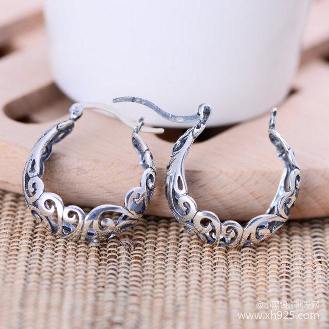 Черный серебряные ювелирные изделия оптовая продажа 925 серебряные ювелирные изделия милые серьги уха клип xh049899 ретро полая картина