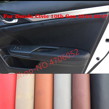 For Honda Civic 10th Gen 2016 2017 4pc Microfiber Leather Door Handle Panels Armrest Covers Protective Trim with Bracket Fitting for honda civic 10th gen 2016 2017 4pcs microfiber leather door handle panels armrest cover black with red edge