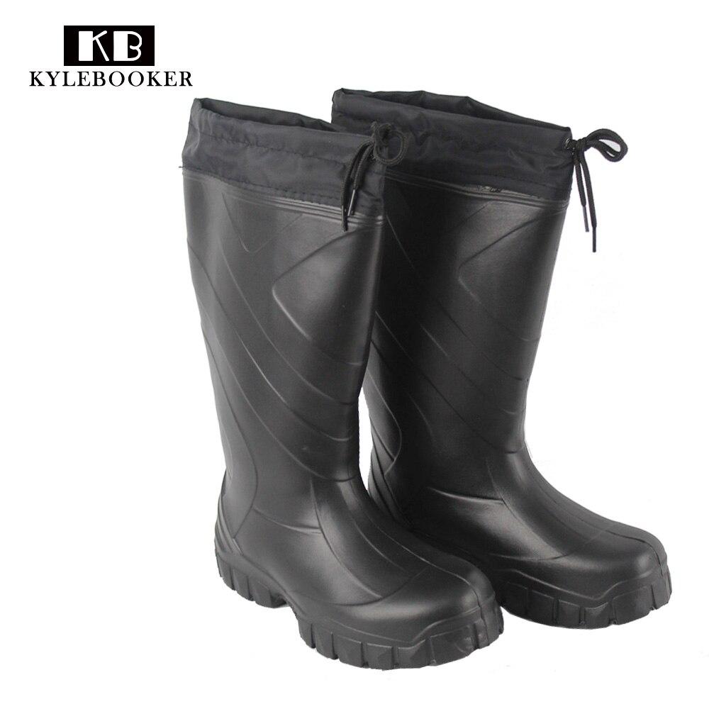 Для мужчин охота рыбацкие сапоги непромокаемые сапоги Hunter ботинки с утеплителем EVA Открытый черный сапоги и ботинки для девочек