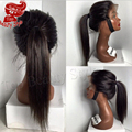 Fast shipping natural black Silky Straight synthetic lace front wig heat resistant for black women synthetic wigs with baby hair