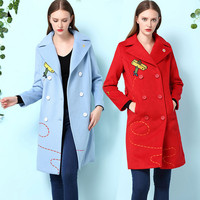 2017 New Autumn Winter Women Embroidered Woolen Coat Slim Turndown Collar Long Style Double Breasted Women