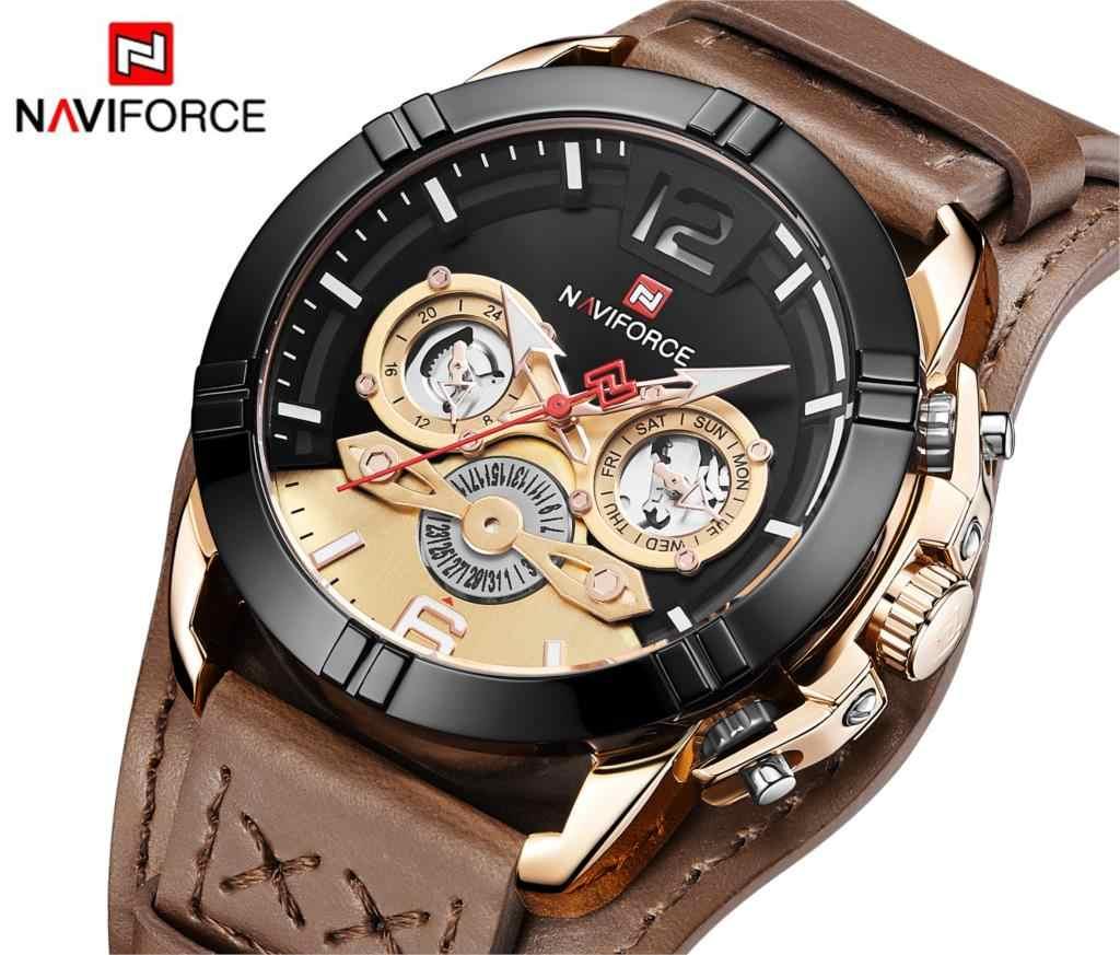 NAVIFORCE hommes montre mode homme cuir Quartz montres hommes de luxe marque 30 M étanche Sport horloge Relogio Masculino marron nouveau