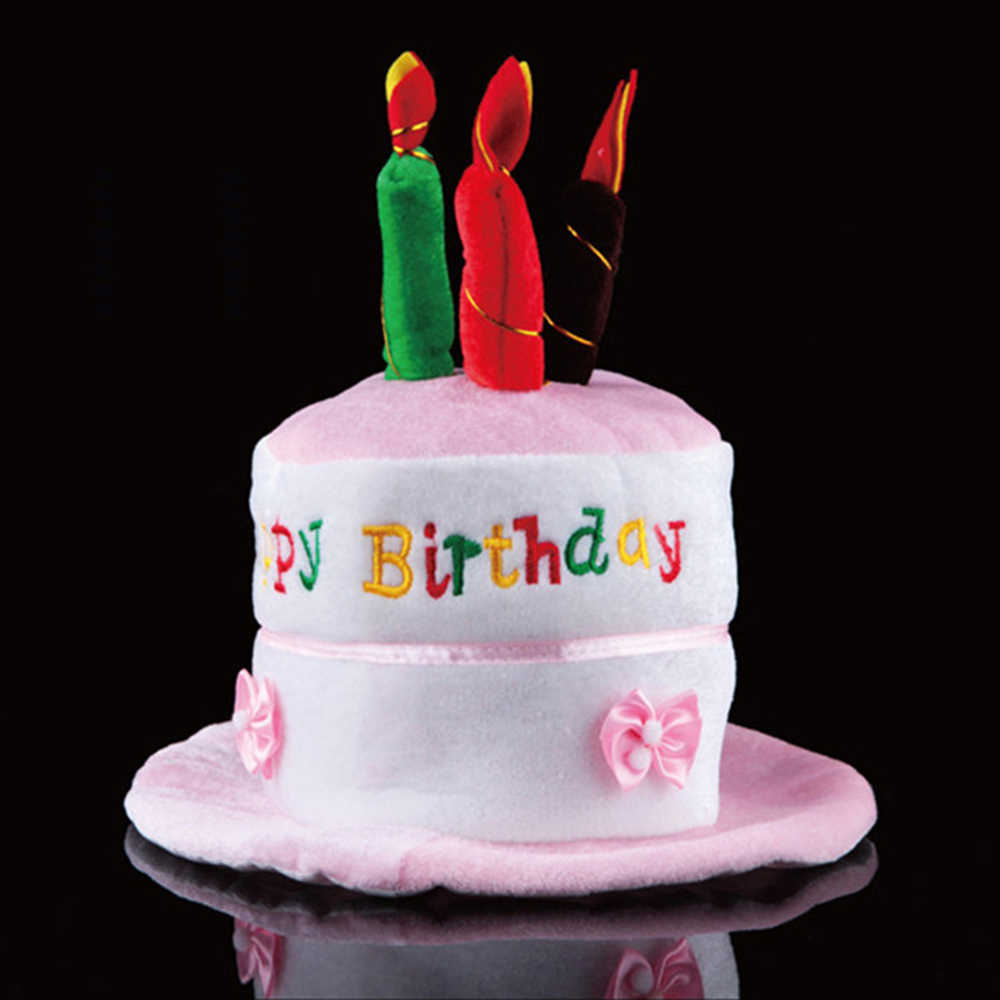 Funny Happy Birthday Cake Top Hat Novelties Costume Candle Party Cap For Children Xmas Gift