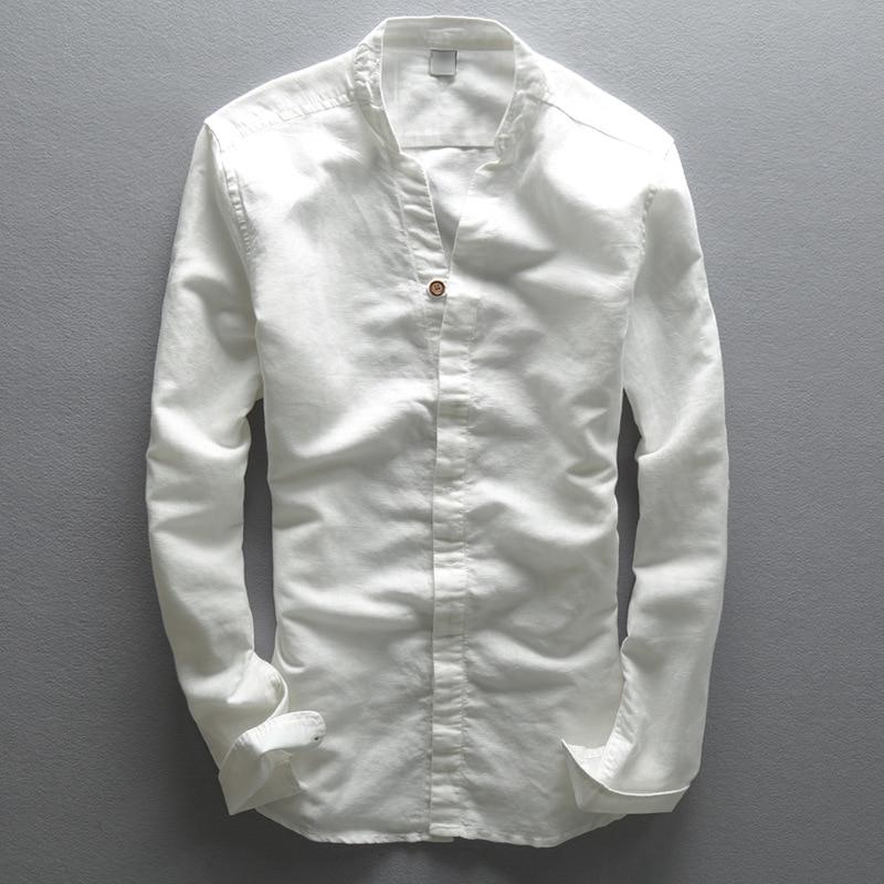 63b5b127e172 Men's V neck long sleeve cotton linen shirts white Dark Blue Thin summer  shirt men Fashion linen shirt male casual shirt for men
