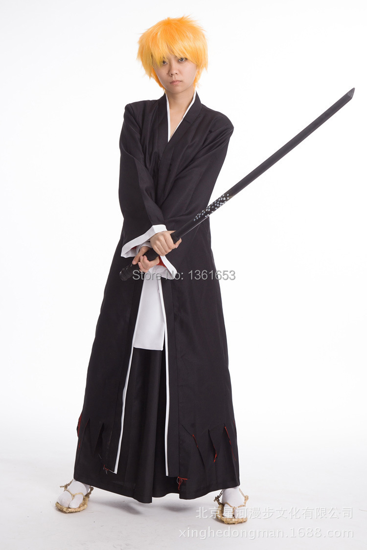 Hot Anime Bleach cosplay Black/white Ichigo Kurosaki Men's Bankai Cosplay Costume hallowean costume for party clothes