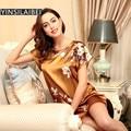 Deslizamento De Seda Nightgowns Cetim Noite Vestido Camisola de Dormir Vestido do vintage Mulheres Vestido Casa Sleepwear Nuisette Femme SY090 #10