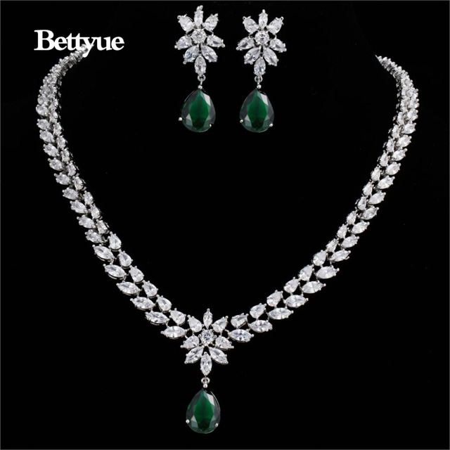 Bettyue Brand Fashion Flower Jewelry Sets AAA Multicolor Zircon Personality Symmetric Jewelry Sets For Woman Wedding Charm Gift