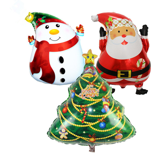 KUWANLE 50pcs lot Cartoon Christmas Tree Foil Balloons Santa Claus Helium Balloon Merry Christmas Decoration Inflatable