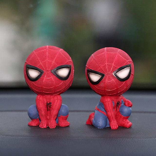 Car Cartoon Spiderman Model Shake Head Toy Resin Ornament Magnet Auto Interior Dashboard Decoration Doll Accessories Gift Trim