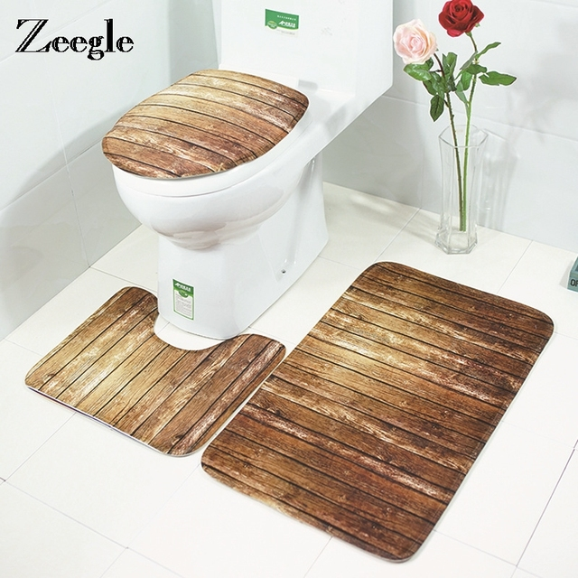 Zeegle Wood Printed 3pcs Bath Mat Absorbent Mat Bath Toilet Seat