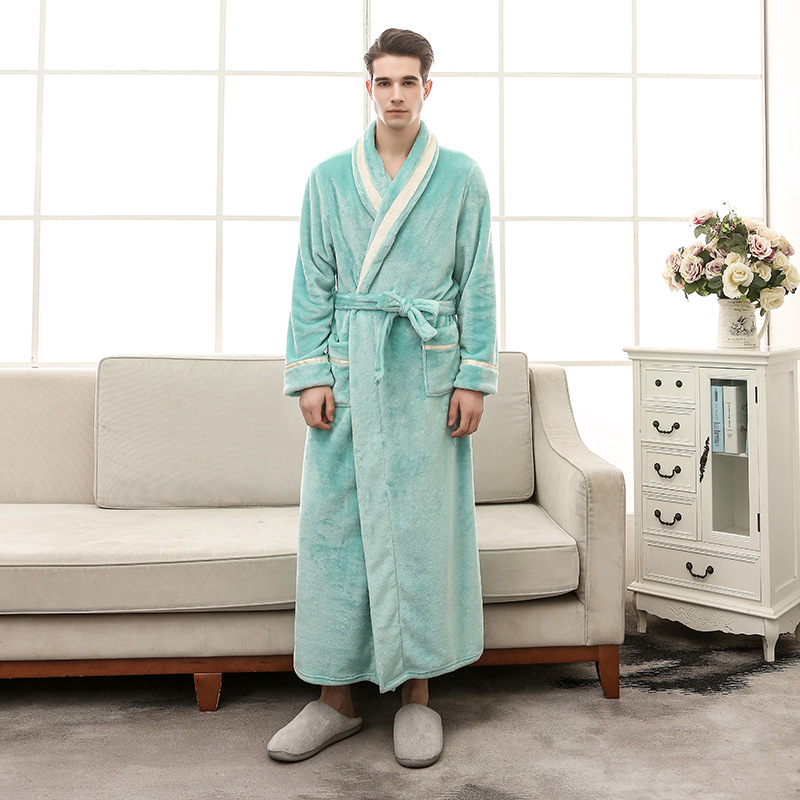 Thickening Lengthening Mens Robe Winter  2018 Winter Mens Robes Long  Solid Color Dressing Gown Flannel Bathrobe For Shower 1299